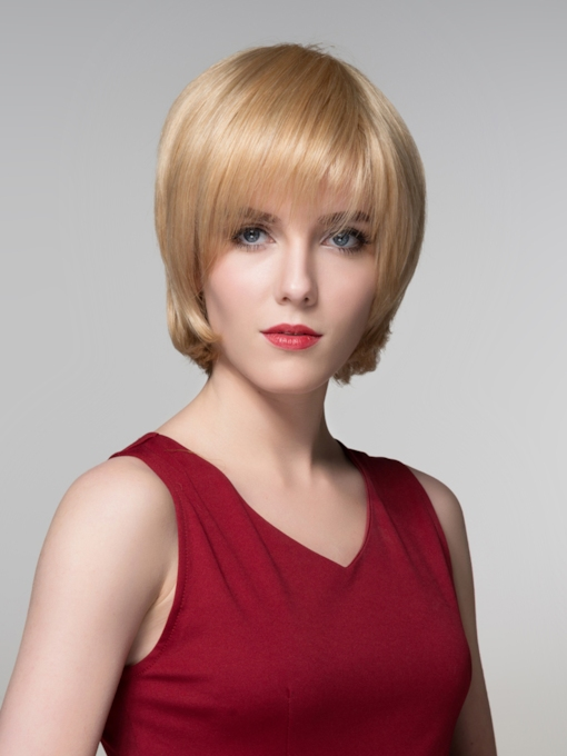 Short Golden Straight Human Hair Capless Wig 6 Inches