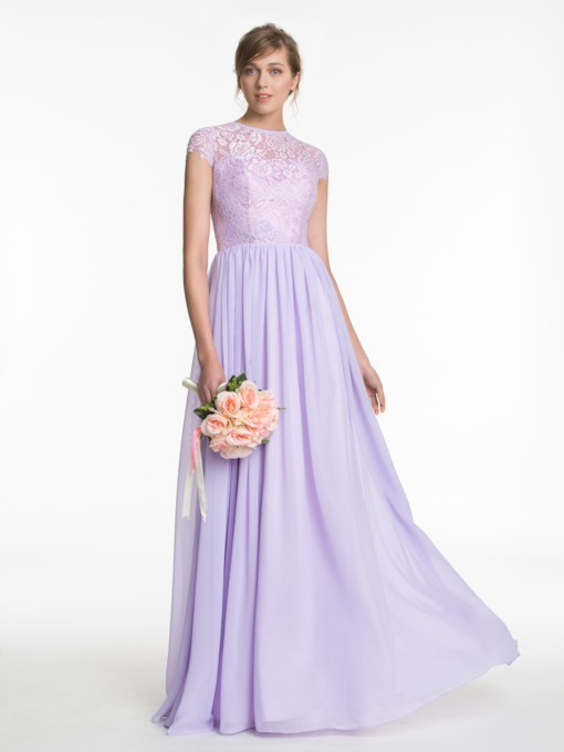 Button Cap Sleeves Lace Lilac Bridesmaid Dress