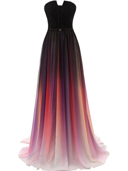 Strapless Sashes Gradient Color Prom Dress