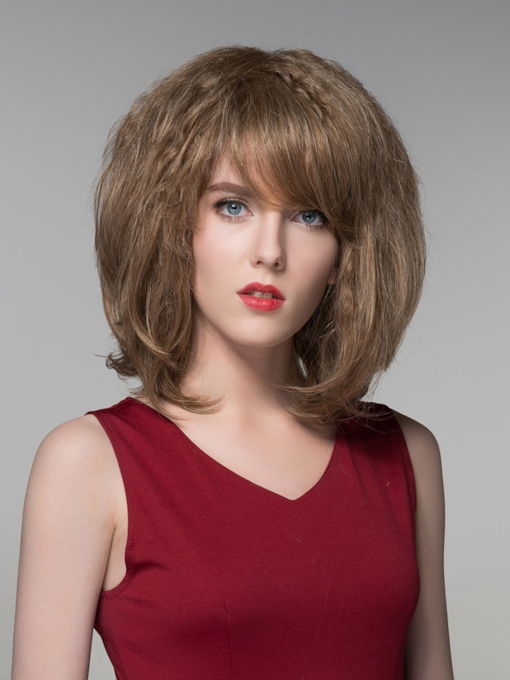Fluffy Medium Human Hair Capless Wigs 14 Inches