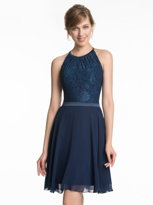 Round Neck A-Line Short Lace Bridesmaid Dress