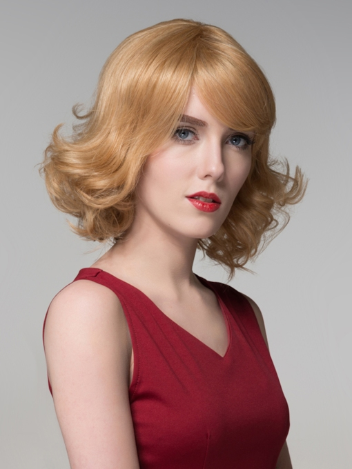 Graceful Medium Wavy Capless Human Hair Wig 12 Inches