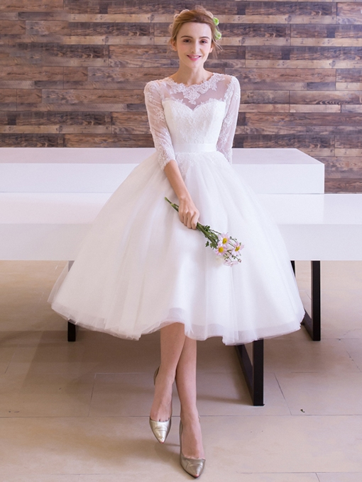 Half Sleeves Lace Knee-Length Beach Wedding Dress
