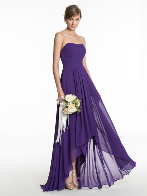Sweetheart Ruched High-Low Bridesmaid Dress