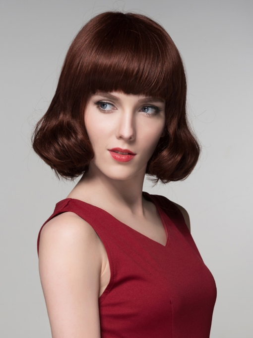 Elegant High Quality Mediuim Wavy Human Hair Wigs 12 Inches
