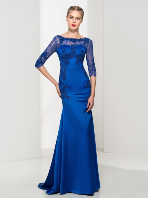 Trumpet Scoop Neck Appliques Brush Train Evening Dress