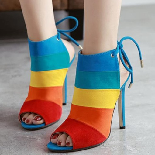 Color Block Lace-Up Front Stripe Stiletto Heel Peep Toe Women's Sandals