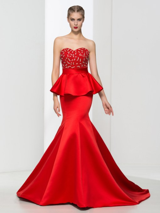 Mermaid Ruffles Pearls Beading Red Evening Dress
