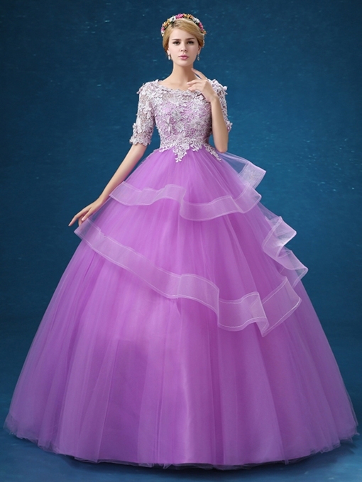 Half Sleeves Ball Gown Scoop Lace Floor-Length Quinceanera Dress