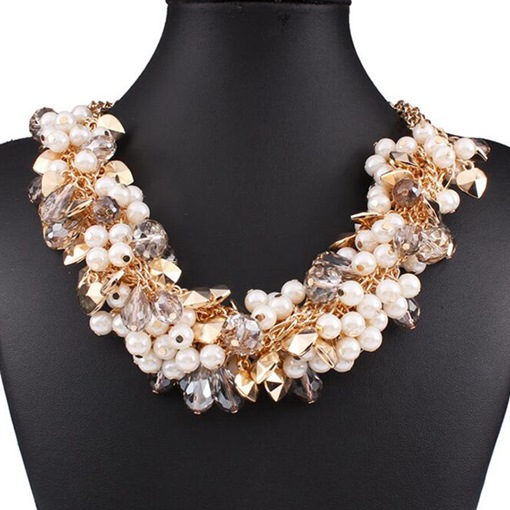 Pearl and Rhinestone Matched Women's Necklace