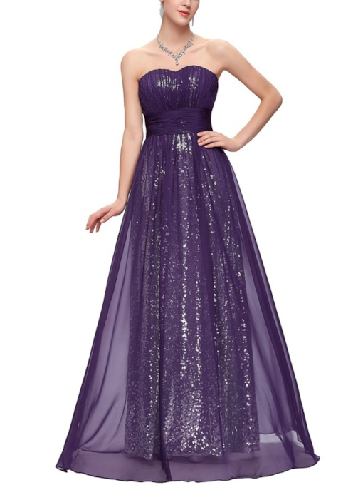 Sweetheart A-Line Pleats Sequins Floor-Length Evening Dress