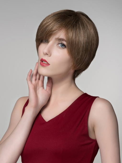 Short Straight 100% Human Hair Capless Wigs 6 Inches