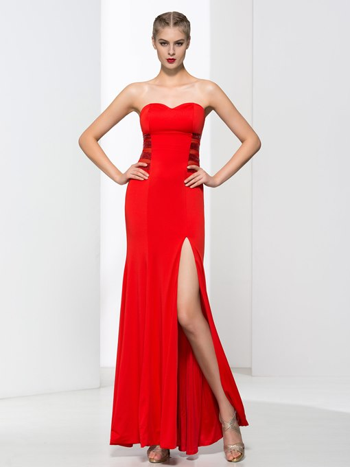 Sweetheart Sheath Sequins Split-Front Prom Dress