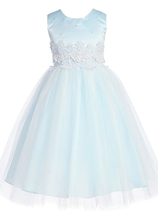 Scoop Neck Appliques A-Line Flower Girl Dress