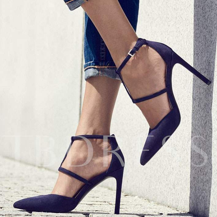 Closed Toe Suede T-Strap Stiletto Heel Women's Sandals