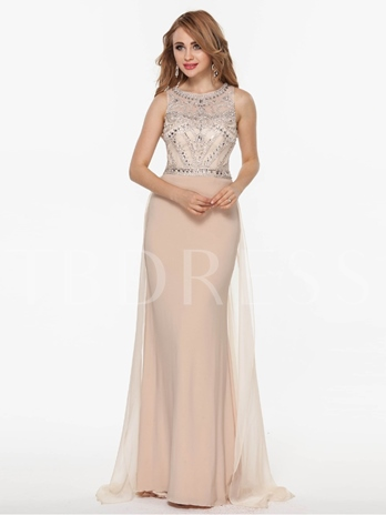 A-Line Scoop Beading Brush Train Evening Dress