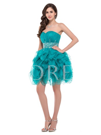 A-Line Sweetheart Beading Ruffles Mini Cocktail Dress