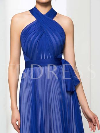 A-Line Halter Bowknot Ruched Floor-Length Evening Dress