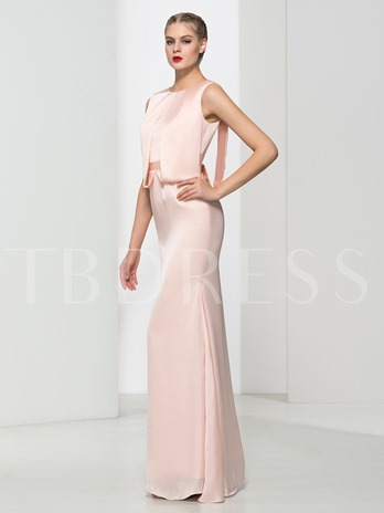 Sheath Backless Scoop Beading Floor-Length Evening Dress