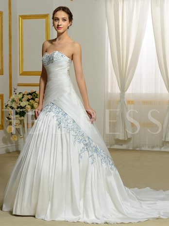 Sweetheart Ruched Embroidery Court Train Lace-Up Wedding Dress