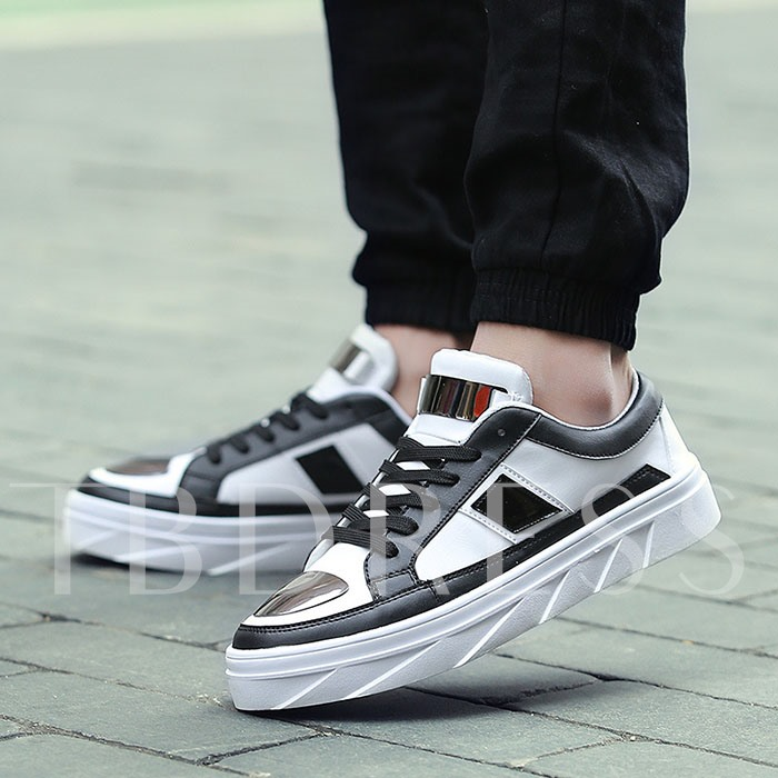 Round Toe Flat Heel Cross Strap Sequins Men's Sneakers