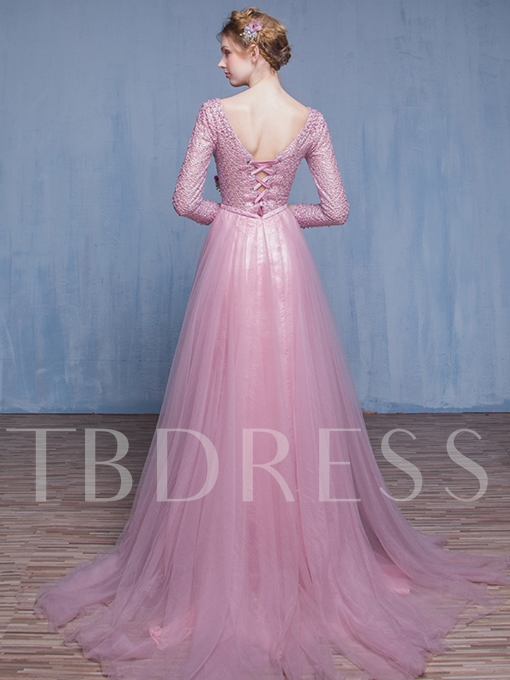 A-Line Round Neck Pearls Sashes Evening Dress