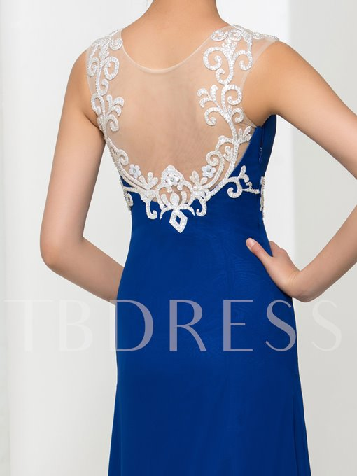 Beading Sheath Straps Appliques Floor-Length Prom Dress
