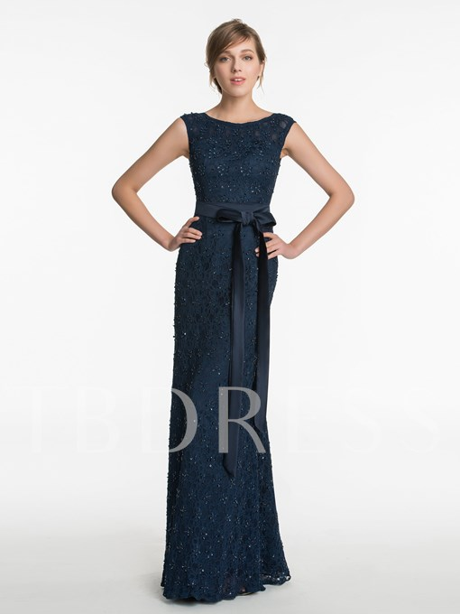 Scoop Neck Beading Lace Sheath Floor-Length Bridesmaid Dress