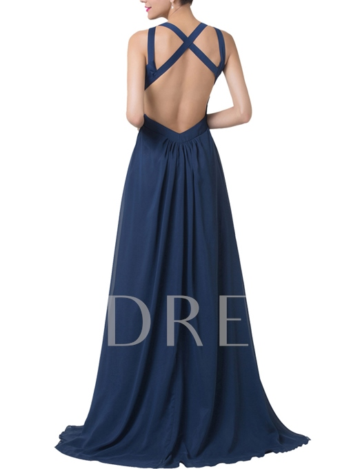 A-Line Straps Pleats Split-Front Floor-Length Evening Dress