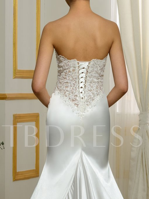 Sweetheart Appliques Lace-Up Mermaid Court Train Wedding Dress