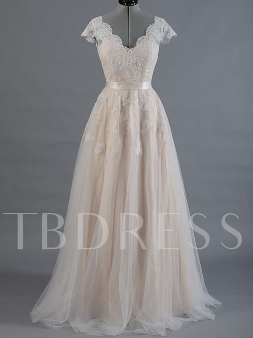 Cap Sleeves V-Neck Appliques A-Line Wedding Dress