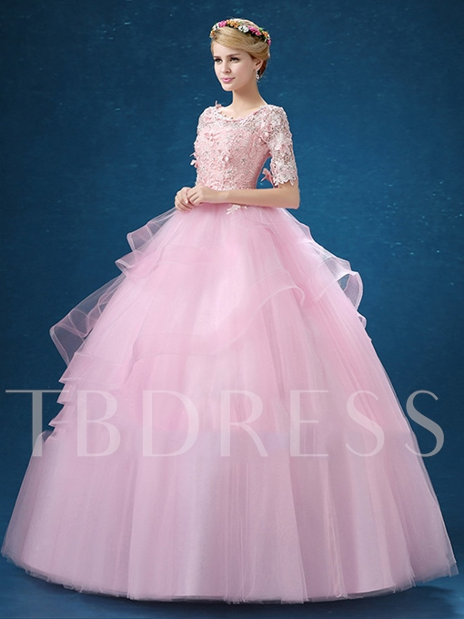 Half Sleeves Ball Gown Scoop Neck Beading Lace Quinceanera Dress