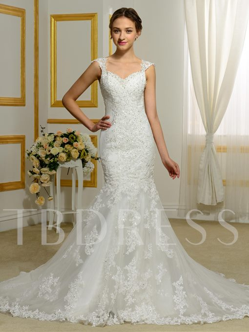 Sweetheart Straps Button Appliques Mermaid Court Train Wedding Dress