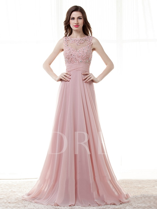 Beading A-Line Appliques Bateau Floor-Length Evening Dress