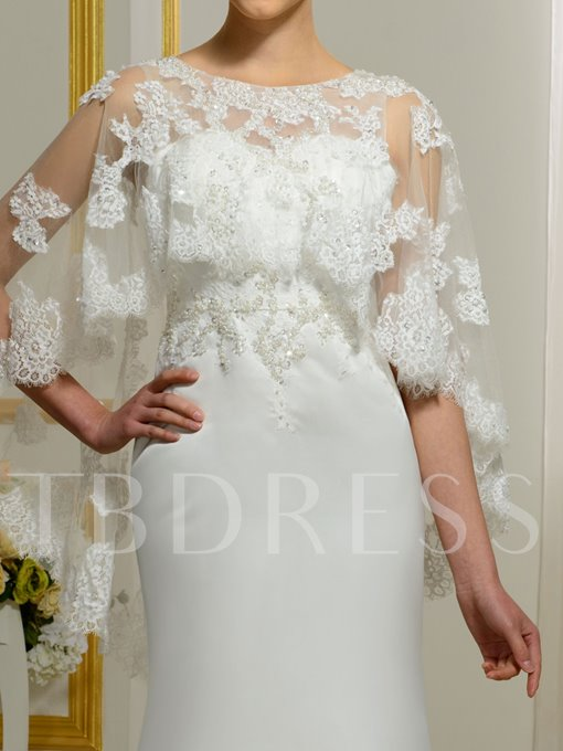 Scoop Neck Appliques Beading Mermaid Sweep Train Wedding Dress