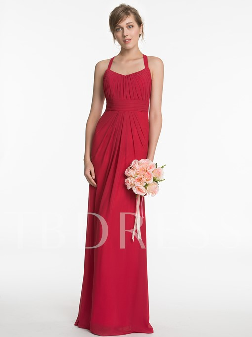 Halter Lace Ruched Zipper-Up A-Line Floor-Length Bridesmaid Dress