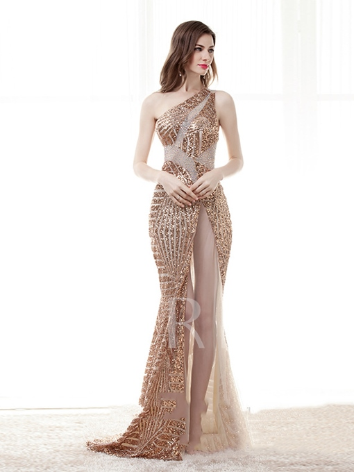 One-Shoulder Mermaid Sequins Beading Evening Dress