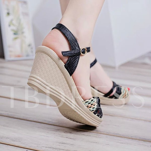 Wedge Heel Bowtie Peep Toe Women's Sandals