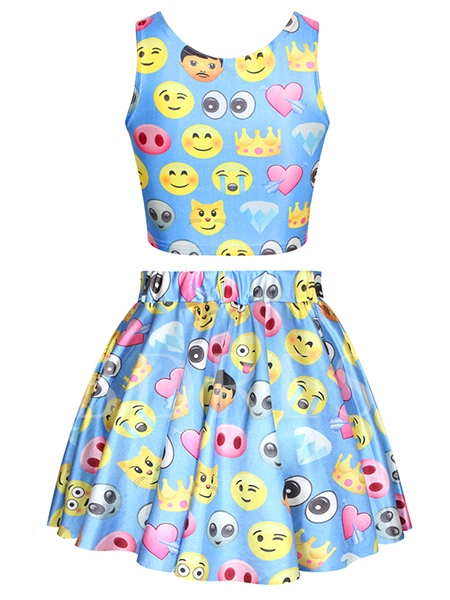 Printed Gallus Pleated Women's Two Piece Dress