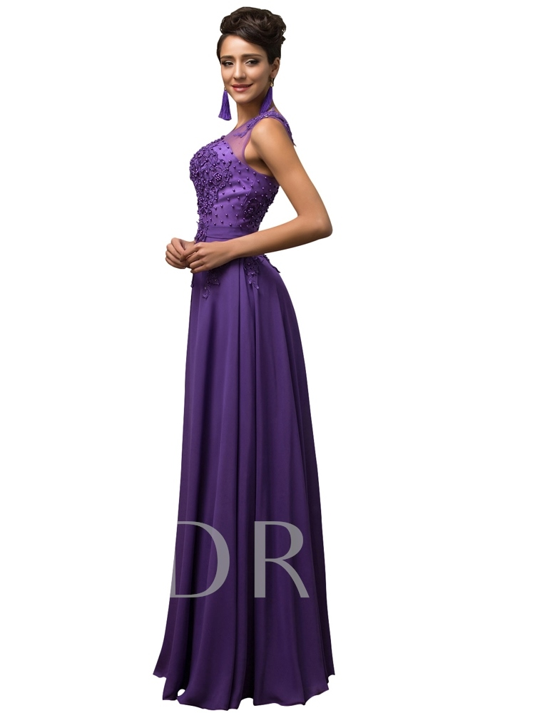 A-Line Bateau Appliques Beading Long Evening Dress
