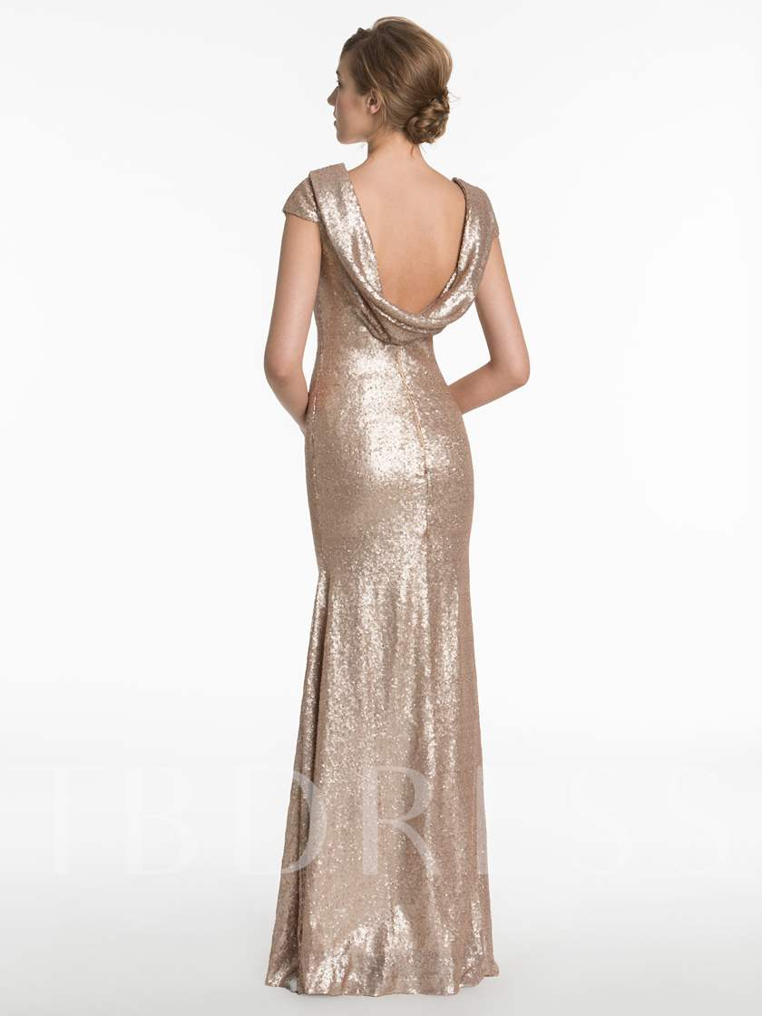 Draped Cap Sleeves Sequins Sheath Bridesmaid Dress