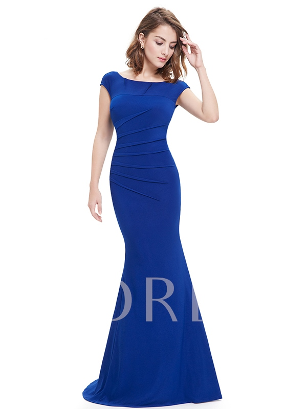 Mermaid Bateau Pleats Floor-Length Evening Dress