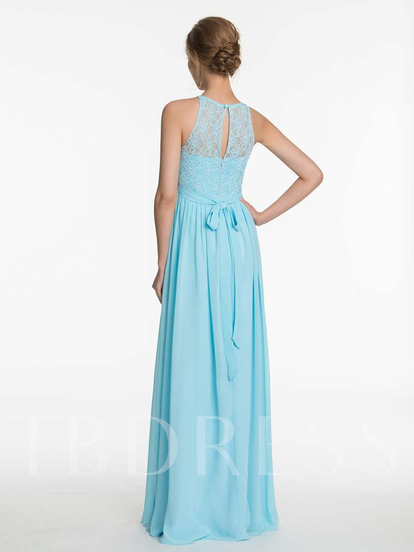 Jewel Neck Sashes Lace Bridesmaid Dress