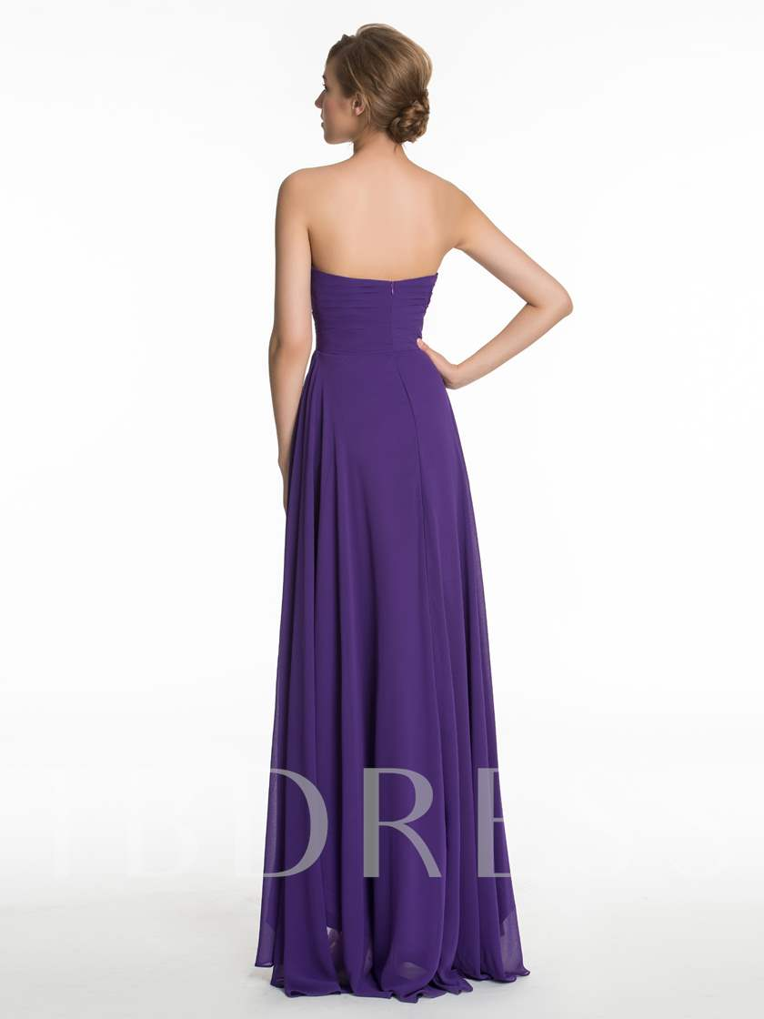 Sweetheart Ruched High Low Bridesmaid Dress