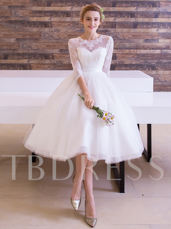 Half Sleeve Lace Knee Length Beach Wedding Dress Sold Out