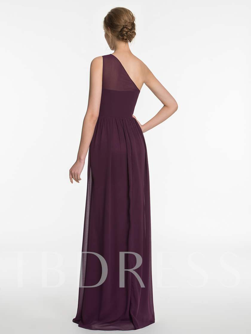 One Shoulder Beading Ruched Bridesmaid Dress