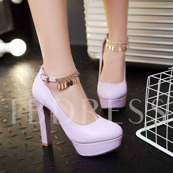 Round Toe Stiletto Heel Chain Women's Pumps