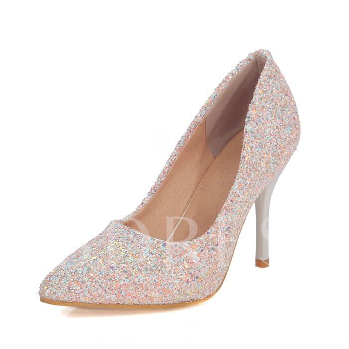 Pointed Toe Sequins Stiletto Heel Women's Pumps