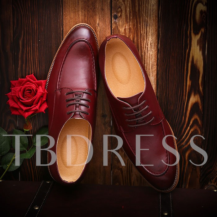 Square Low Heel Pointed Toe Cross Strap Men's Oxfords