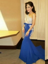One Shoulder Sashes Bowknot Appliques Mermaid Evening Dress